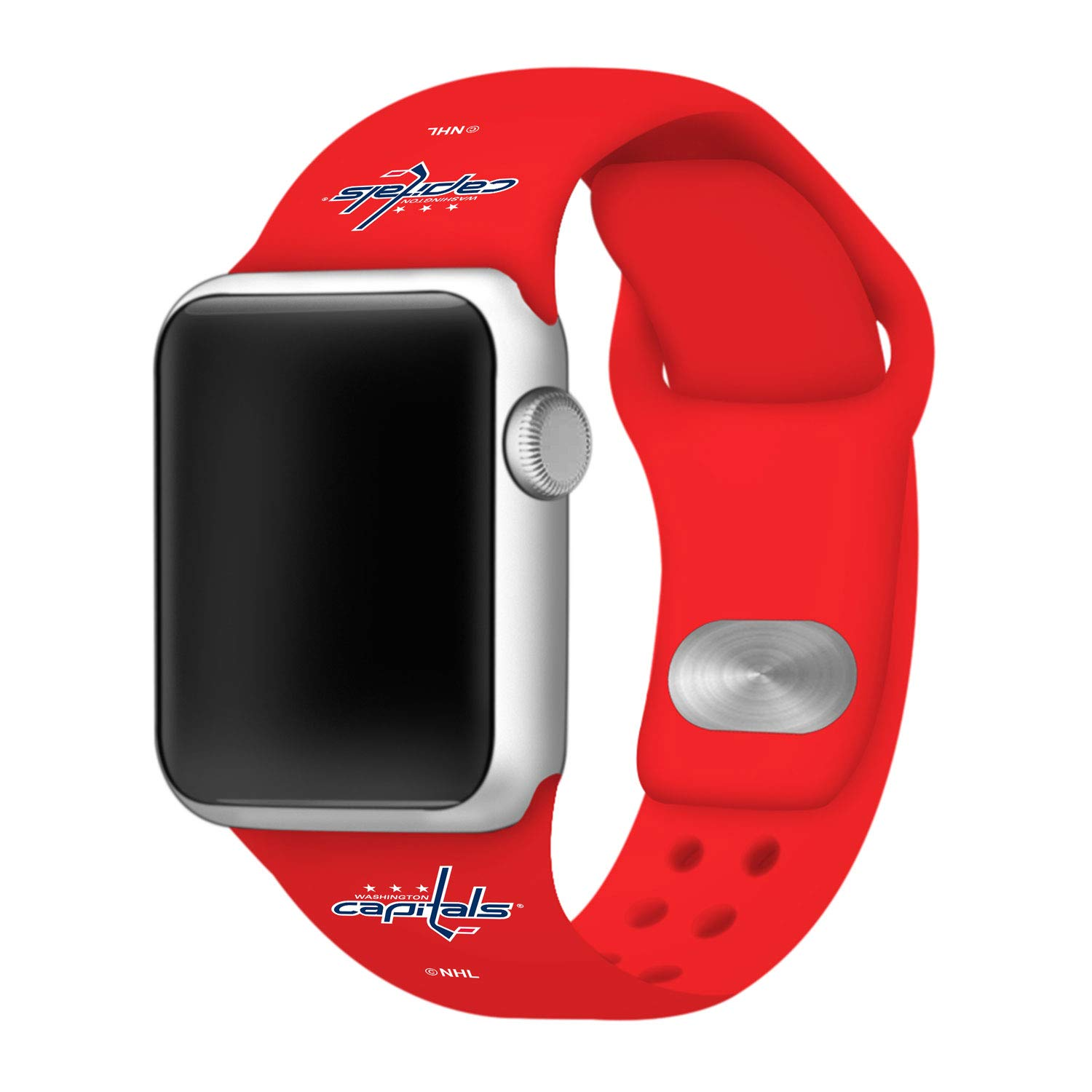 Game Time Washington Capitals Silicone Sport Band Compatible with Apple Watch - (42mm/44mm RED)