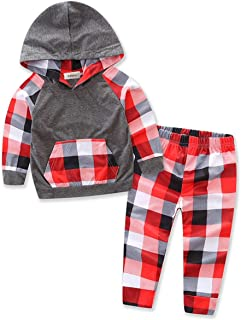 stylesilove Little Boys Patterned Long Sleeve Hoodie and Pants 2pcs Cotton Outfit Pink