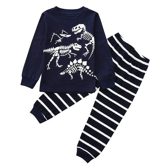 YanHoo Conjunto de Ropa para niños Ropa Linda Camiseta de Manga Larga con Estampado de Huesos de Dinosaurio para niños + Pantalón con Estampado de Rayas ...