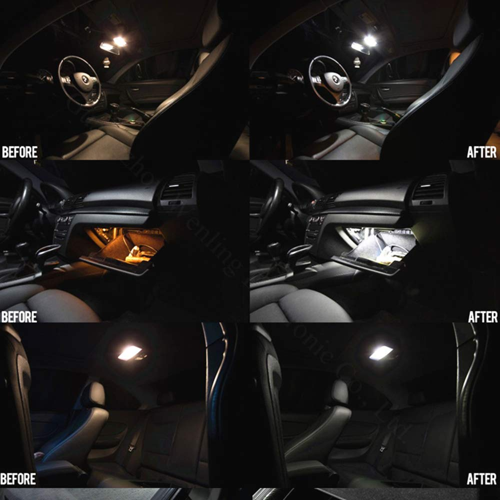 WLJH 17x Pure White Canbus Error Free Car Map Mirror Lighting Package Interior Led Kits for BMW E46 1999-2006 Sedan Wagon Coupe