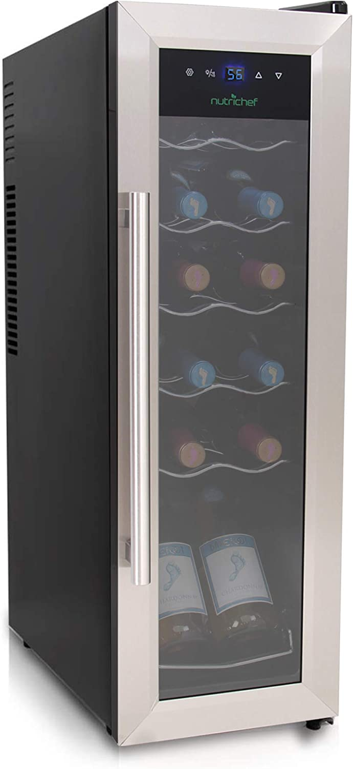 Nutrichef PKCWC12 12 Bottle Compressor Cooler Refrigerator | Red and White, Champagne Chiller | Counter Top Wine Cellar | Quiet Operation Fridge | Touch Temperature Control | Stainless Steel