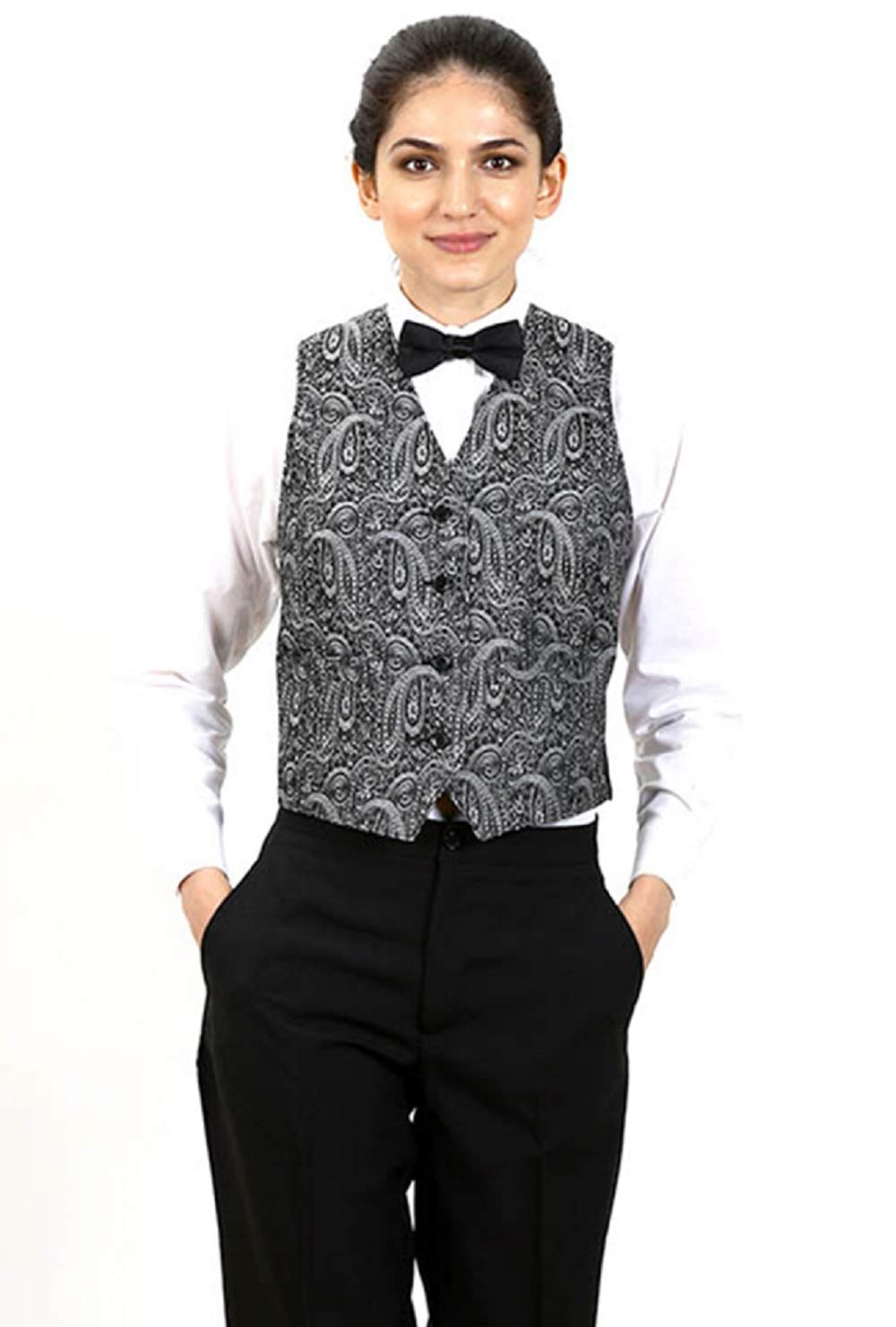 SixStarUniforms Women's Silver Formal Designer Business Suit Paisley Pattern Jacquard Vest Medium by SixStarUniforms