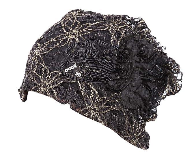 7c87aa8484c1e Amazon.com  Womens Lace Flower Head Cap Beanie Hat Cap Turban