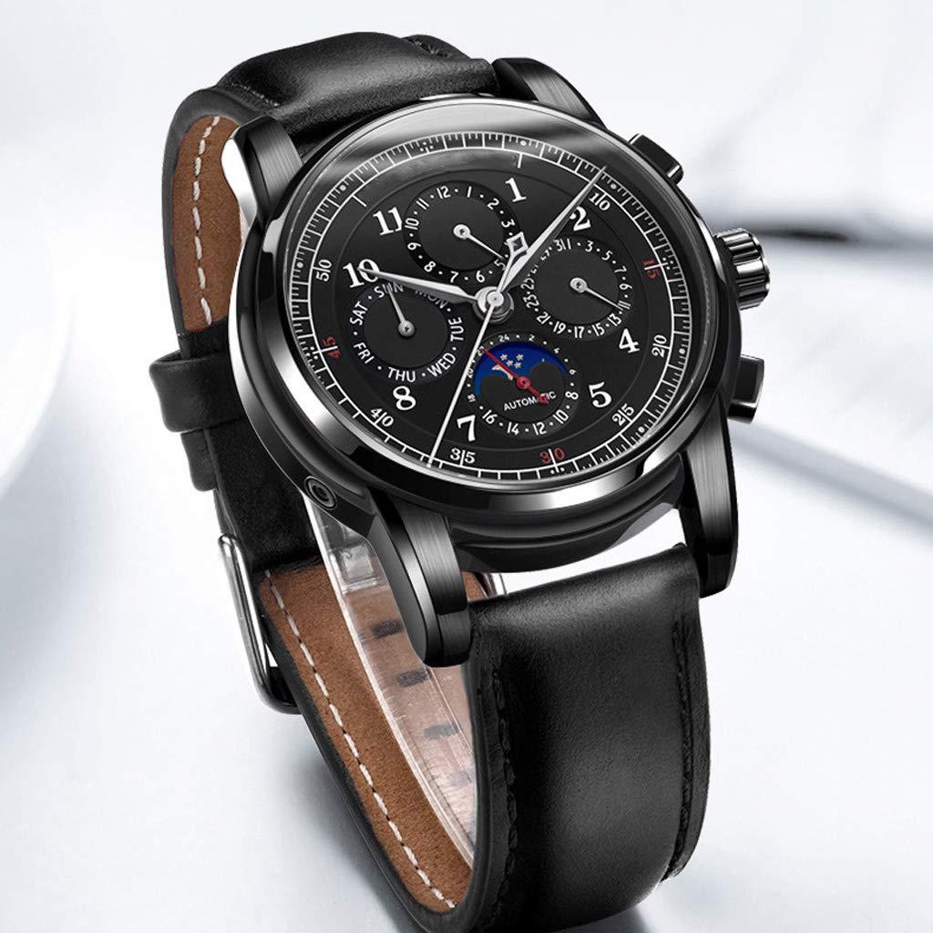 vattentät business casual enkel armbandsur, herrklocka med automatisk mekanisk skelettkalender i månfasen – flerfärgad E
