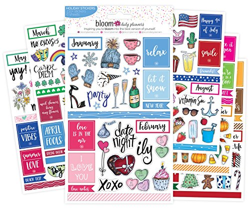 Bloom Daily Planners Holiday Seasonal Planner Sticker Sheets - Seasonal Sticker Pack - Over 230 Stickers Per ()
