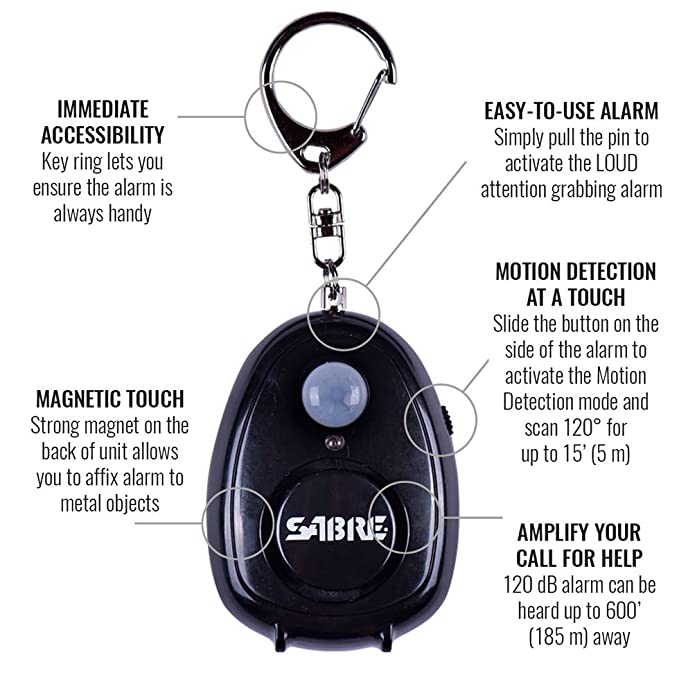 SABRE Personal Alarm with Motion Detector, Magnet & Key Ring – LOUD 120dB Alarm - Hear Up to 600 (185m) Away