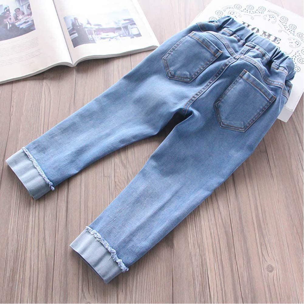 DinQ Baby Clothes Girls Jeans Cherry Cartoon Folded Trousers New Long Pants Childrens Clothing 2-14 Years Old