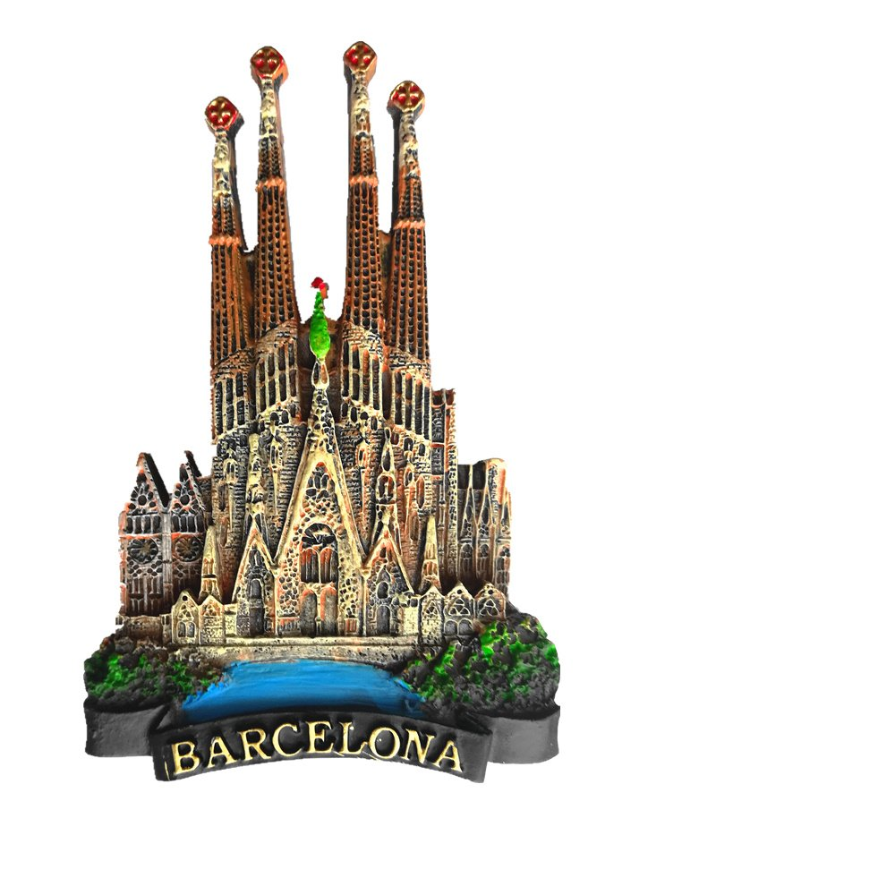 Jian Ai 3D Barcelona Spain Fridge Magnet, Barcelona Spain Souvenir Refrigerator Magnet use for Home&Kitchen Decoration