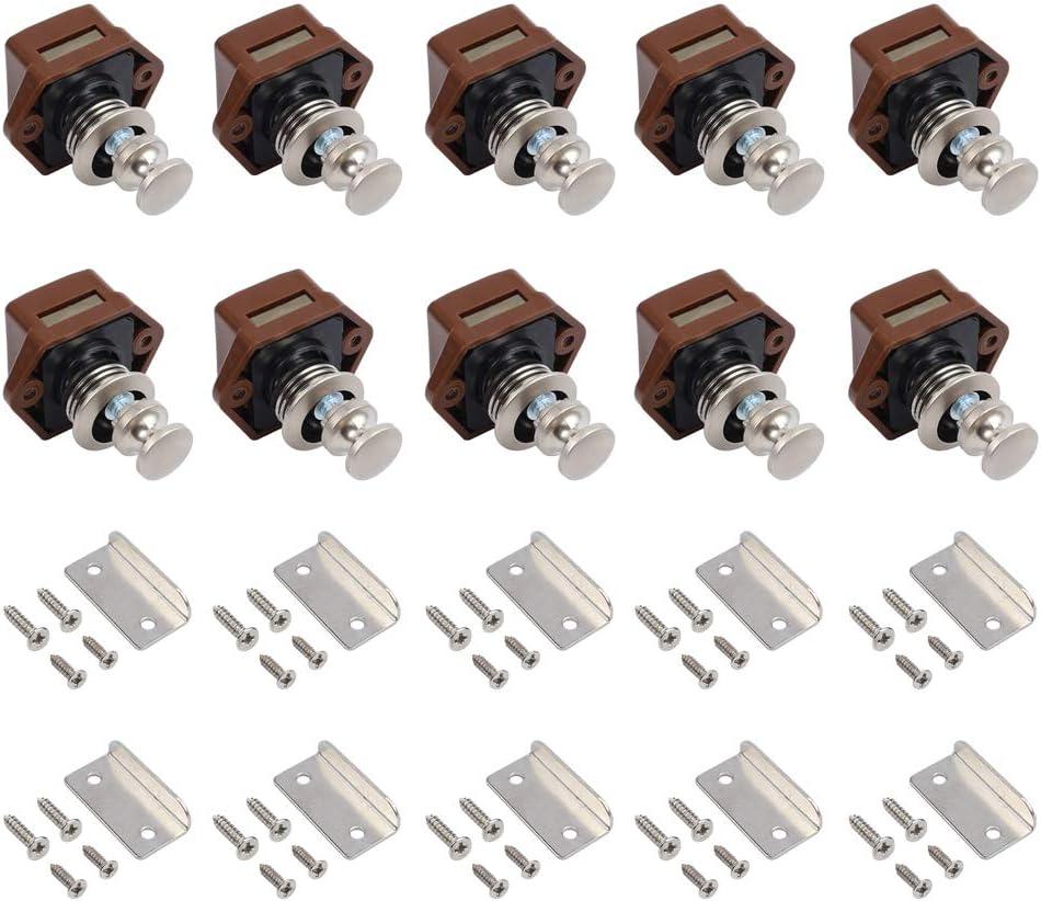 Tanice 10pcs Cabinet Knobs Latch Push Button Lock Drawer Cupboard Door Catch Lock for Motorhome Caravan Cupboard