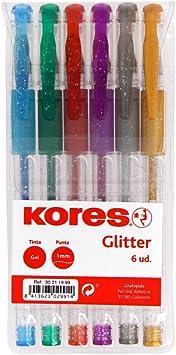 Grafoplás- Kores. 30211999. Pack de 6 Bolígrafos de Tinta Gel Glitter, BG4, Punta 1mm, Colores Surtidos: Amazon.es: Juguetes y juegos