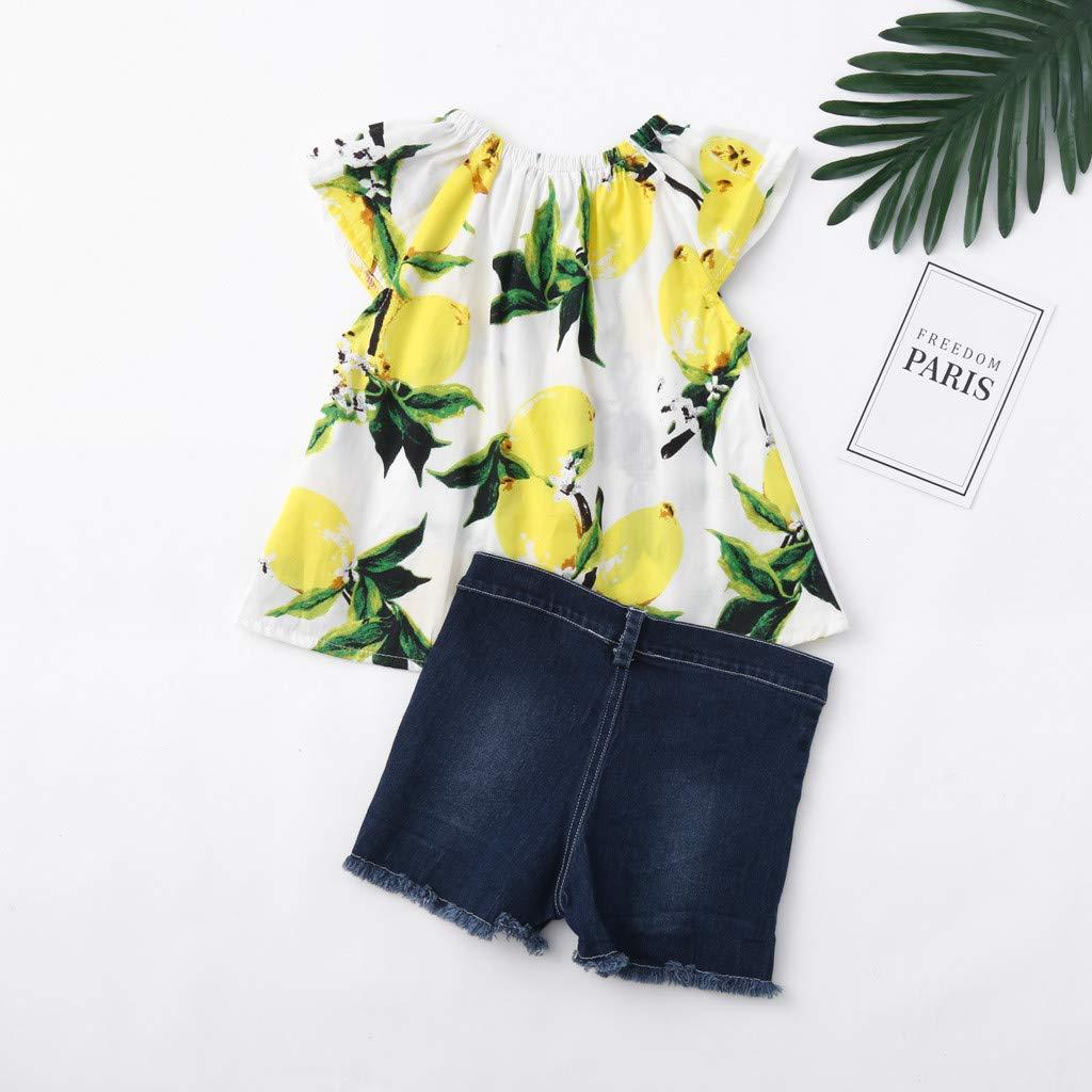 Sayolala Baby Girls Shorts Sets Kids Fruits Lemon Print Tops Hole Denim Jean Shorts Outfits Summer Soft Clothes 1-5 Years