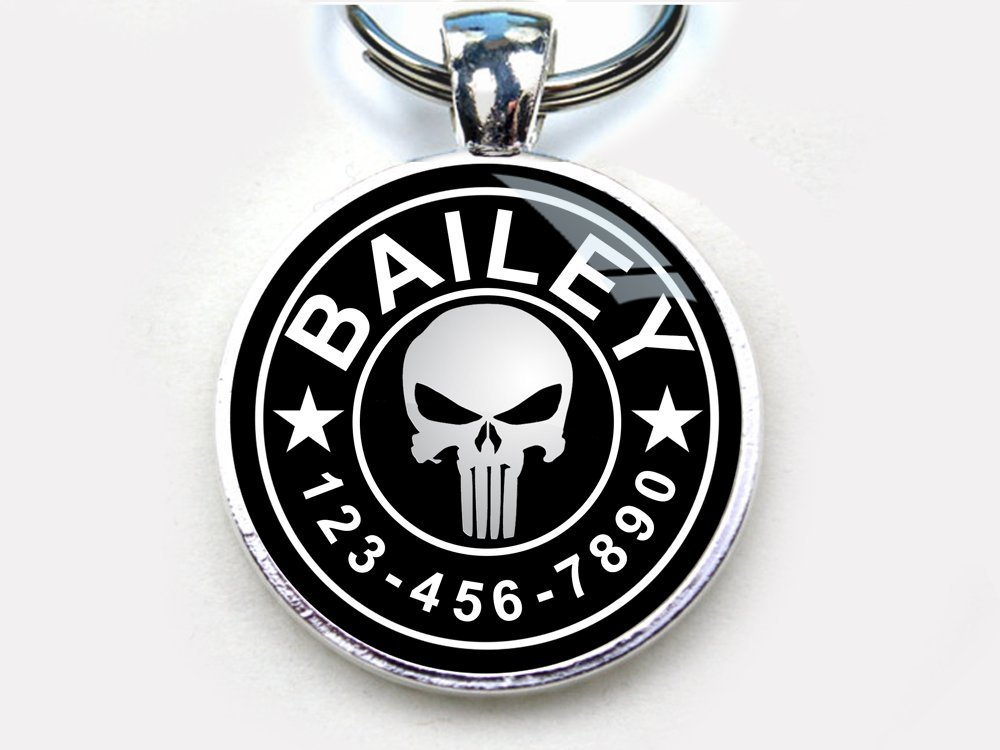 Punisher Custom pet ID Tag dog tag cat pet tag (Small 1'')