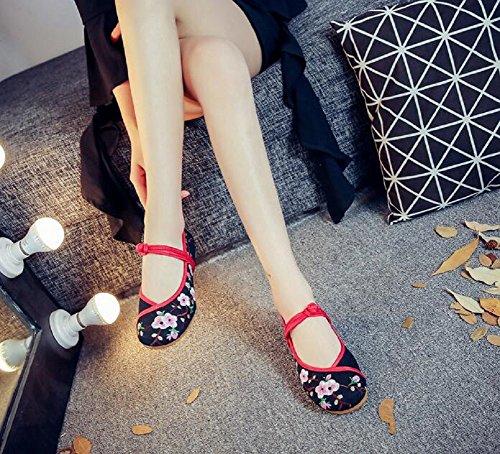 de zapatos estilo clásico Zapatos de bordados Negro goma zapatos chino casuales Lazutom suelas para mujer 7Tqw57E