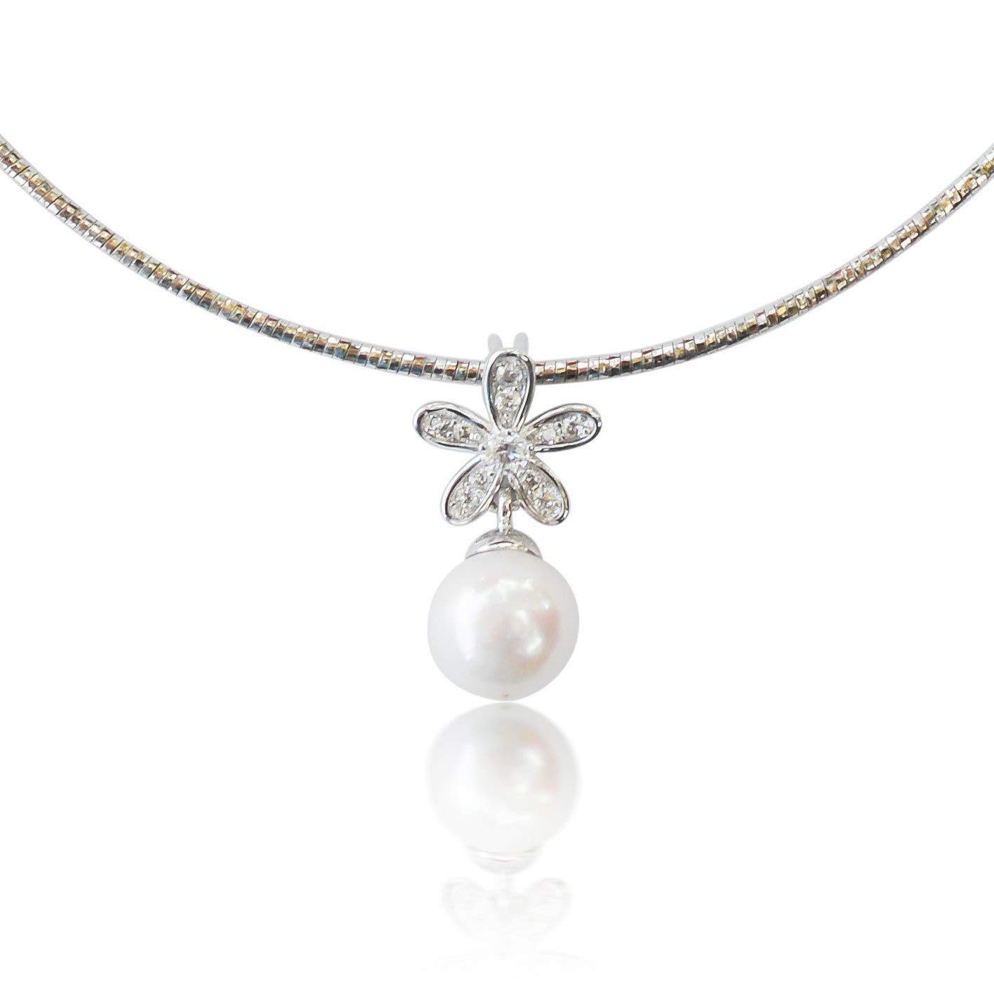 Amazon Com 10k White Gold Single Omega Choker Necklace Handmade With Stunning White Freshwater Pearl And Flower Cz Diamond Pendant Simple And Beautiful Drop Necklace 16 Inch Chain With Lobster Clasp Handmade