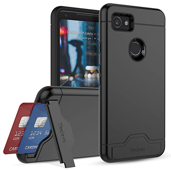 best service 0be84 b594f Teelevo Wallet Case for Google Pixel 2 XL - Dual Layer Case with Card Slot  Holder and Kickstand for Google Pixel 2 XL (2017) - Black