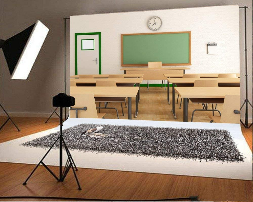 GoEoo 9x6ft Students Back to School Backdrops for Photography High School Classroom Teachers Platform Desks Graduation Photo Background Cloth Photo Booth Props Video Drapes Wallpaper