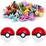 sqzkzc-48 Pokémon Figuras de colección aleatorias + 3 Poké Bolas Pokéball, Color Rojo y Blanco