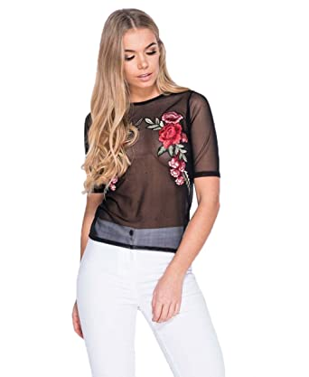 540be8805e7e0 Bangyue Embroidered Mesh Shirt - Sexy Embroidery Shirts For Women Rose Embroidered  Top at Amazon Women s Clothing store