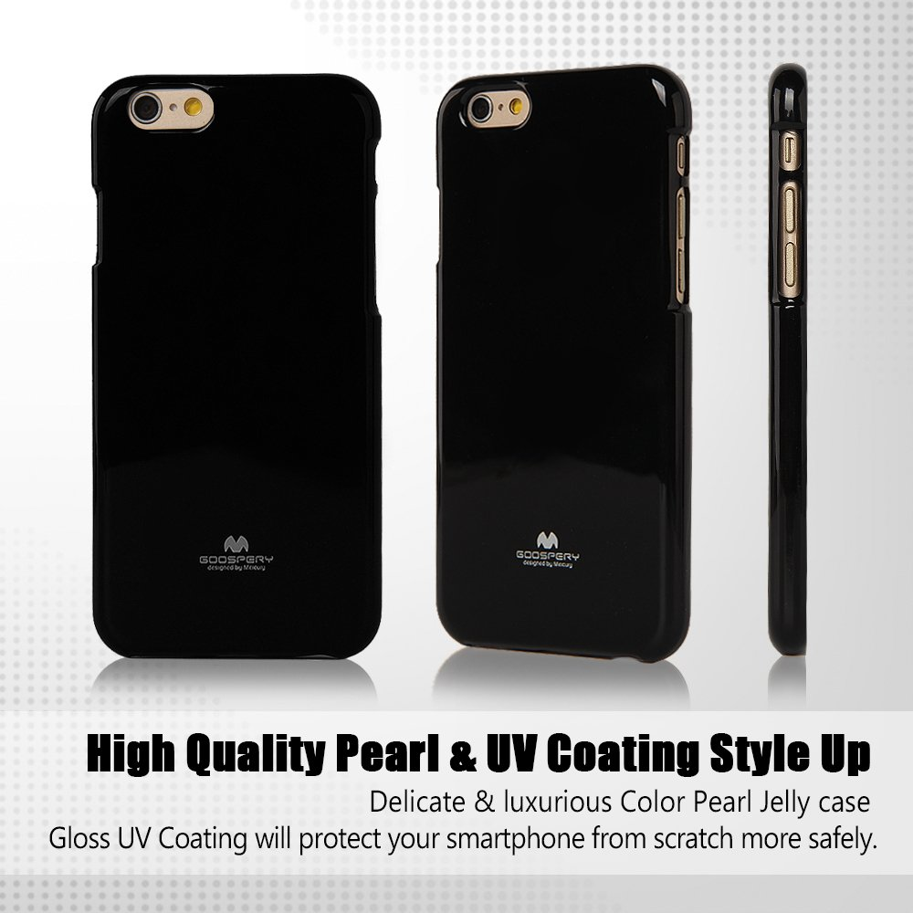 Iphone 6s 6 Case Ultra Slim Goospery Pearl Jelly Soft Feeling Black Slight Glitter Caseanti Yellowing Discoloring Premium Tpu Shock Absorption For Apple