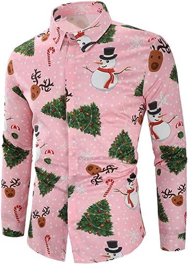 Camisas para Hombres, Dragon868 Hombres Casual Nieve Hombre Ciervos Caramelo Impresa Camisa de Navidad: Amazon.es: Ropa y accesorios