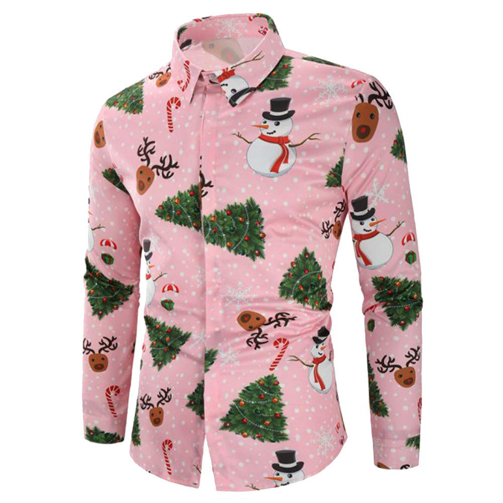 NUWFOR Men Casual Snowflakes Santa Candy Printed Christmas Shirt Top Blouse(Pink,US:S Chest 33.8