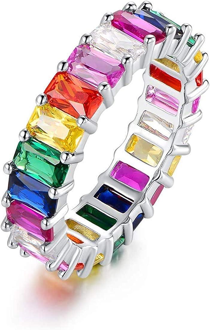 Savlano 18K White Gold Plated Cubic Zirconia Emerald Cut Multicolor Rainbow Eternity Ring Band