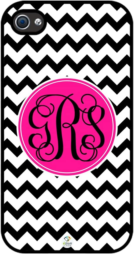 iZERCASE Monogram Personalized Black and White Chevron Pattern with Black Monograms Rubber iPhone 4 case - Fits iPhone 4 & iPhone 4s T-Mobile, Verizon, AT&T, Sprint and International (Black)