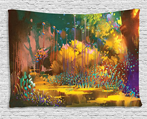 (Fantasy Art House Decor Tapestry by Ambesonne, Imaginary Forest with Psychedelic Feature Effects Fairy Jungle Boho, Wall Hanging for Bedroom Living Room Dorm, 80WX60L Inches, Multi)