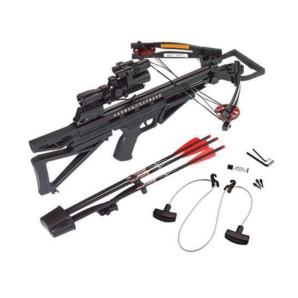 Carbon Express Intercept Varmint Hunter Crossbow Kit Rope Cocker, 3 Bolt Quiver, 3 Crossbolts, Rail Lubricant, 3 Practice Points, 4×32 Scope