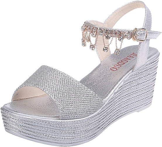 Sandales à Talons compensés pour Femmes Perles Boucle de