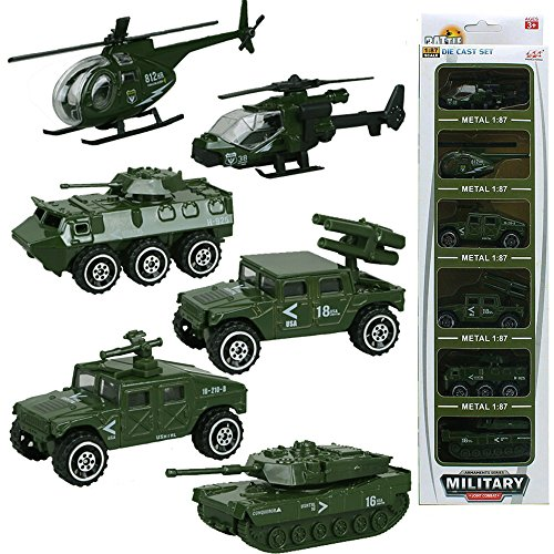 6 Cars in 1 Set Die-cast Metal Vehicle Playset Kids Model Car Toys Military Helicopter Tank Jeep Truck Armored Car Best Gift for Boys