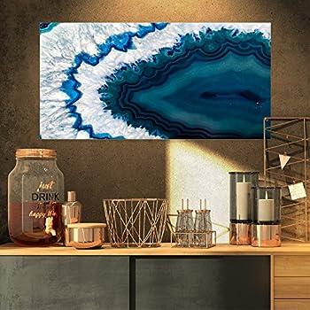 Designart PT14377-32-16 Blue Brazilian Geode - Abstract Canvas Wall Art Print, 32x16