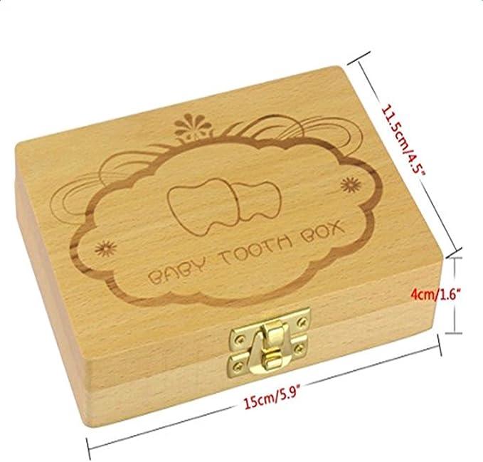 itemer Lovely bebé caja de dientes diente de madera de ahorrar de almacenamiento cajas de recuerdo caja Durable dientes caja de guardar: Amazon.es: Bebé