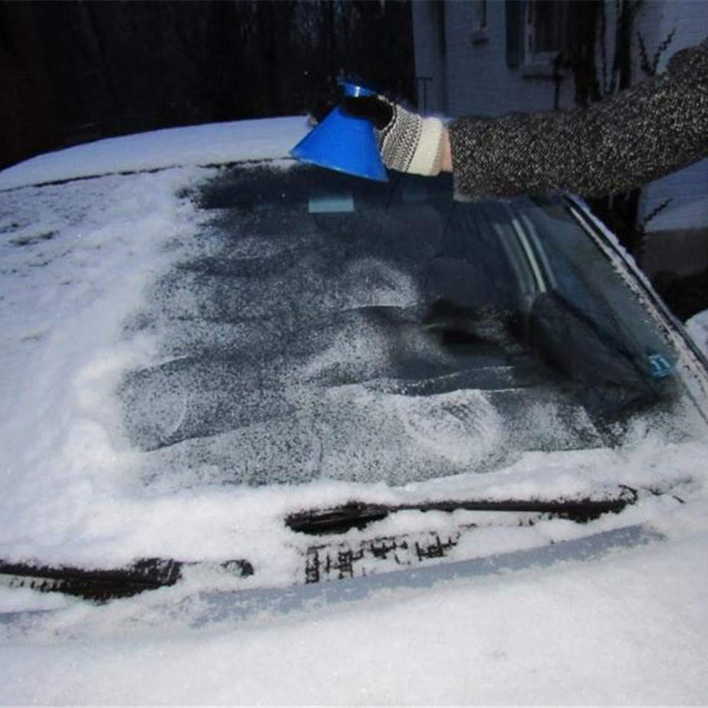 Blue Cone-Shaped Windshield Ice Scraper 2019 Scrape A Round Magic Cone-Shaped Windshield Ice Scraper Snow Shovel Tool, 10cm