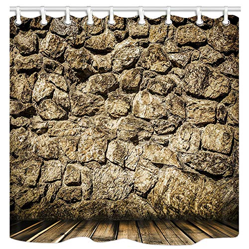 (DYNH Rock Wall Bath Curtains for Bathroom, Rustic Home Stone Deocr Wallpaper, Fabric Shower Curtain Liner Waterproof, Drapes Accessories Hooks Included, 69X70 in)