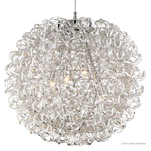 Luxury Modern Chandelier, Large Size: 23.5''H x 23.5''W, with Eclectic Style Elements, Polished Chrome Finish and Crinkled Metal Ribbon Shade, Includes G9 Xenon Bulbs, UQL2611 by Urban Ambiance by Urban Ambiance (Image #6)
