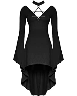 Punk Rave Gothic Mini Dress Black Strappy Witch Occult 3//4 Sleeve Skater