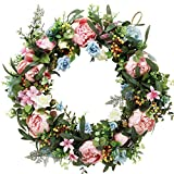à MaMaison Spring Summer Wreath for Front Door w/hanging hook – Ideal for Interior Décor – 22 Inch Diameter -packed in a storage box
