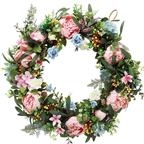 à MaMaison Spring Summer Wreath for Front Door w/hanging hook – Ideal for Interior Décor – 22 Inch Diameter -packed in a storage box by à MaMaison