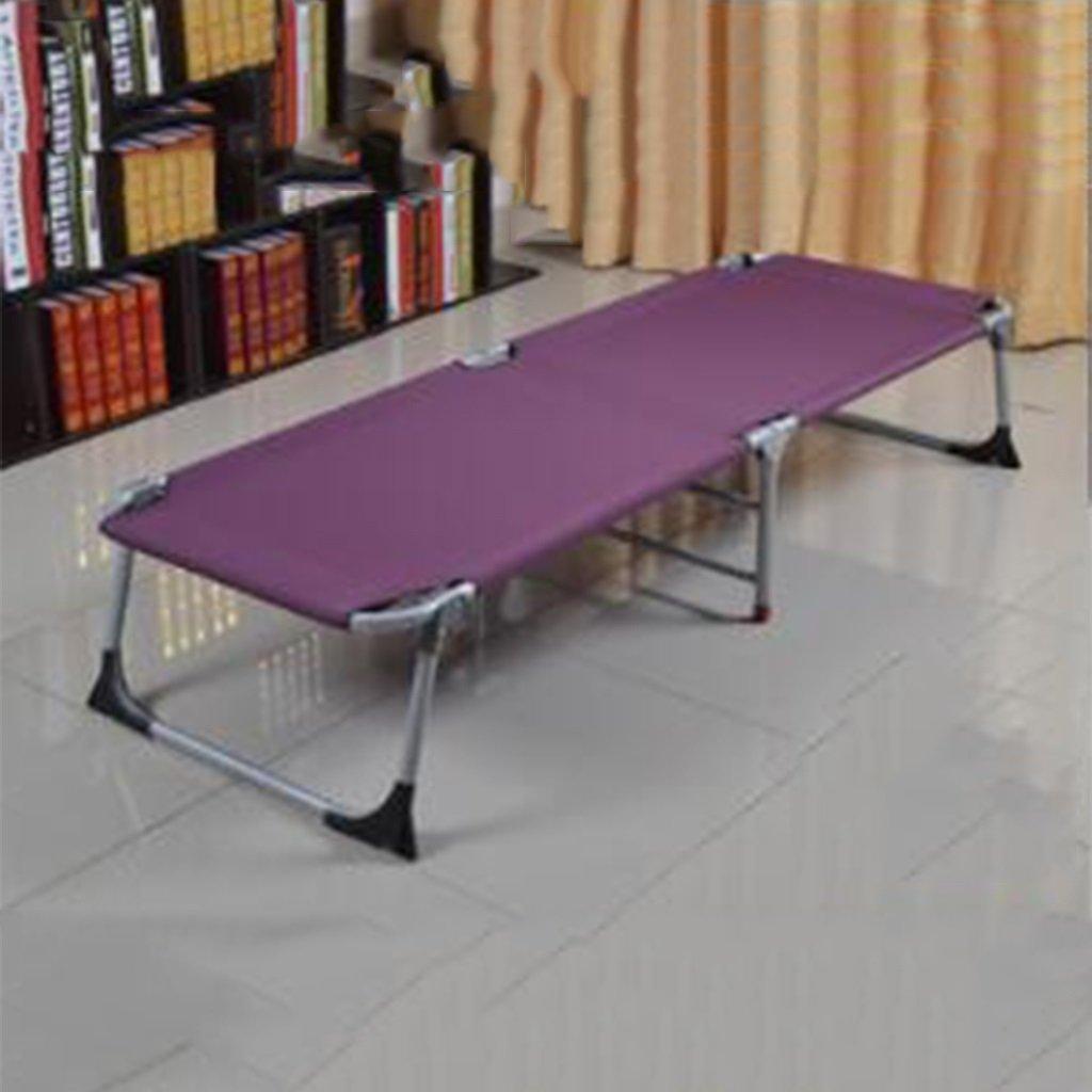 Ren Chang Jia Shi Pin Firm Verstärktes Büro Klappbett Einzelbett Siesta Siesta Bett einfaches Tuch Bett Camping Bett begleitendes Bett (Farbe : lila)