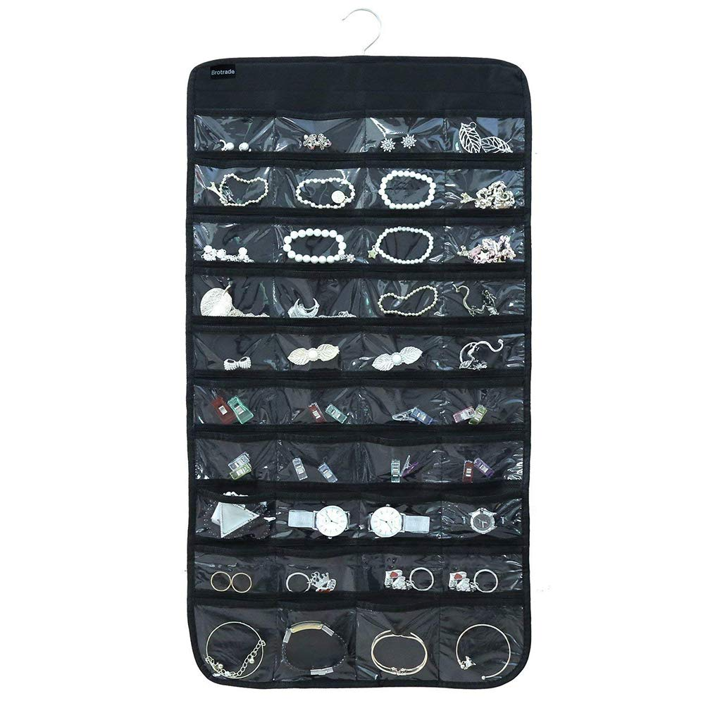 Jewelry Hanging Organizer Storage Holding - Double Sided 80 Pockets Wall-Mounted Ring Necklace Organizer Holder Hanger (Black)