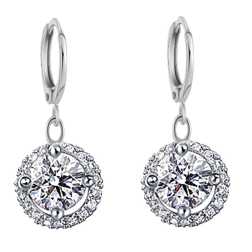 Yazilind Jewelry Charming 18K Silver Plated Austrian Crystal Cubic Zirconia Hoop Dangel Earring For Women YAZILIND JEWELRY LIMITED 1076E1243