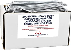 Pinnacle Mercantile 200 Pack Galvanized Garden Stakes Landscape Staples Extra Heavy Duty Sod Ground Anchors Anti Rust 6 inch Metal Pins 9 Gauge USA Made