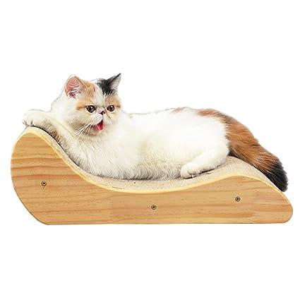 Chaise longue cama de madera maciza Tablero de arañazo de gato Juguetes para gatos mascota Sofá ...
