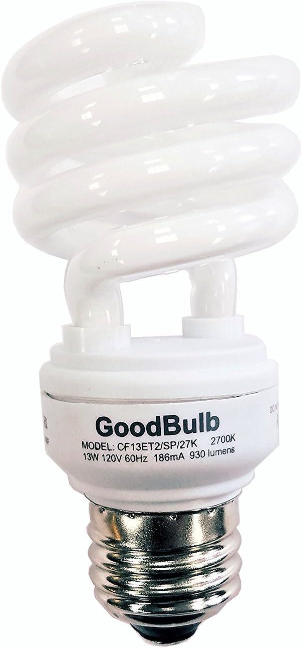 13 Watt Compact Fluorescent Bulb - Warm White Light Bulb - Ultra Mini Spiral CFL Light Bulbs - 2700K - E26 Base - 2 Pack - GoodBulb