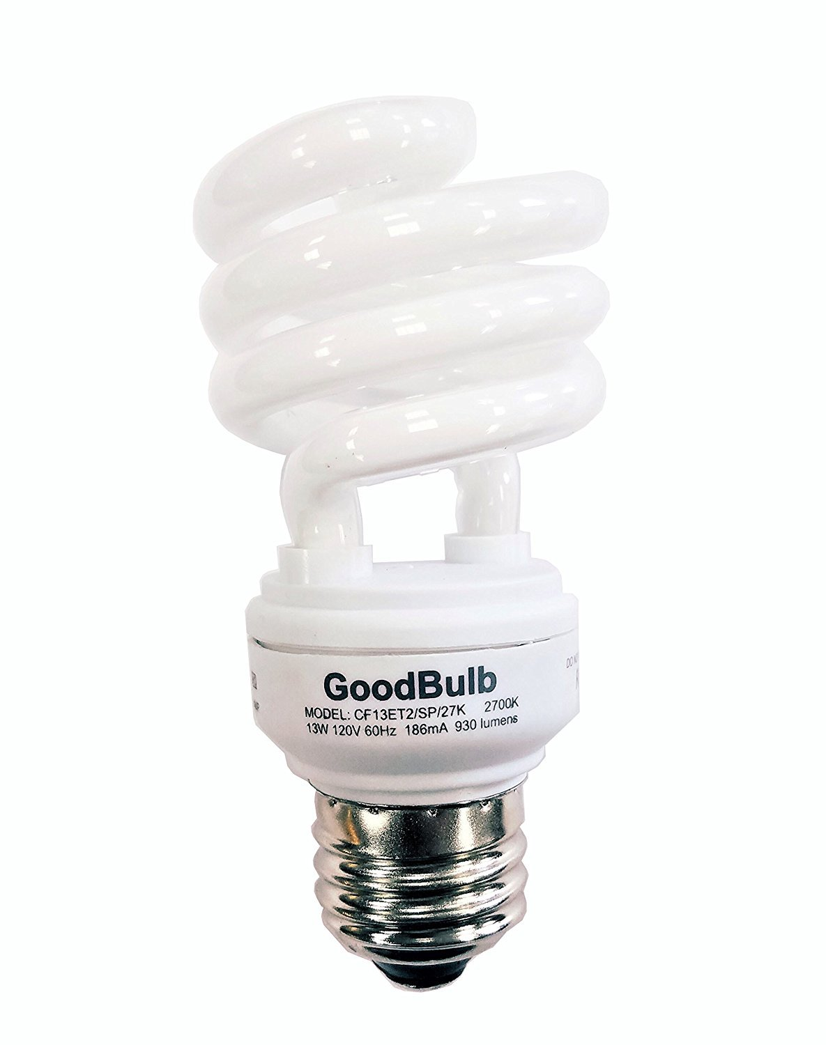 13 Watt Compact Fluorescent Bulb - Warm White Light Bulb - Ultra Mini Spiral CFL Light Bulbs - 2700K - E26 Base - 2 Pack - GoodBulb