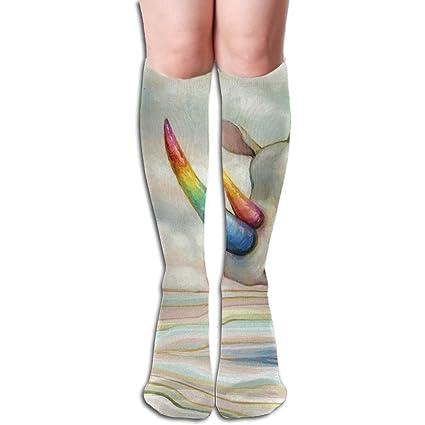 Unisex Rhino Unicorn con cuernos de colores elástico largo calcetines rodilla alta calcetines de compresión (