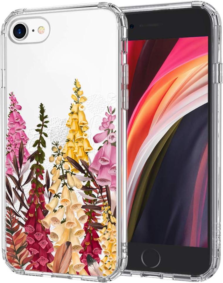 MOSNOVO Cute Foxglove Floral Flower Pattern Designed for iPhone SE 2020 Case/Designed for iPhone 8 Case/Designed for iPhone 7 Case - Clear