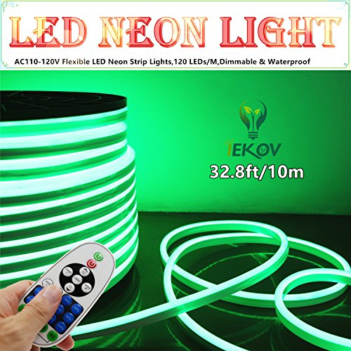 120v Rope Light (LED NEON LIGHT, IEKOV™ AC 110-120V Flexible LED Neon Strip Lights, 120 LEDs/M, Dimmable, Waterproof 2835 SMD LED Rope Light + Remote Controller for Party Decoration (32.8ft/10m, Green))