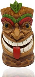 Adzt's Tiki Statue Head Solar Powered Outdoor Garden Decor Light,Garden Figurines for Outdoor Home Yard Décor 9'' Tall